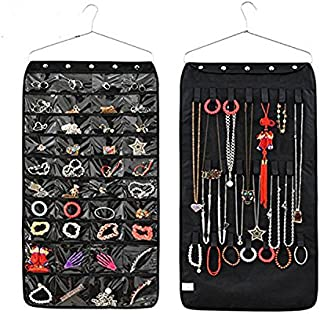 Closet Hanging Jewelry Organizer Bag Holder Pockets 40 Pockets 21 Hook-and-Loop (Black)