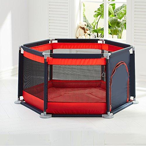 Valla para Niños Baby Playpens Alfombra De Arrastre para Bebés Zona De Juegos para Niños Valla De Seguridad para Niños Hogar Playpen Portátil con Tapete (Color : Rojo)