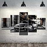 LVQIANHOME Impressions sur Toile 5 Pièce HD Imprimer Grand Nissan Skyline GTR Voiture Moderne Peintures Décoratives sur Toile Mur Art Décor À La Maison Mur-Encadré