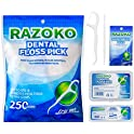 250-Pieces Razoko Dental Floss Picks High Toughness Toothpicks Sticks
