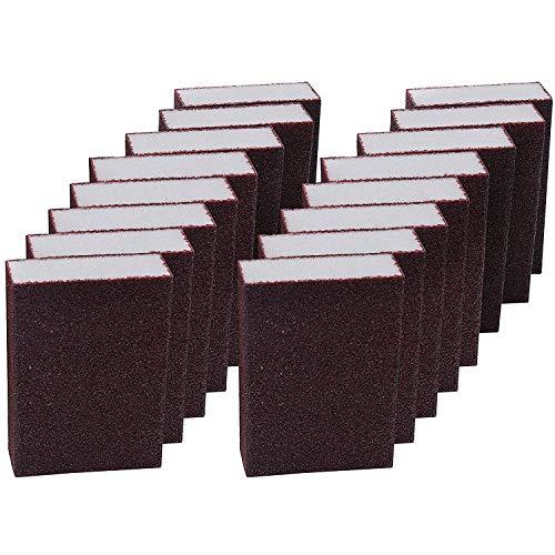Lijado Esponja (16 Bloques) - Coarse Grueso Esponja de Lijado (10x6,9x2,5cm) Bloque de Lijado Seco y Mojado - Kit Lijas Variadas para Metal, Madera, Plástico, Decorar