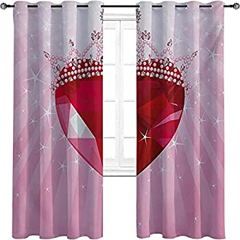 Queen Shading Insulated Curtain Love Valentines Heart with Princess Crown Cartoon Romantic Kids Girls Design Three-Layer Braided Noise Reduction Ring top Shade Curtain W72 x L72 Inch Pink Red