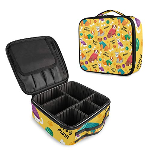 Colorful Happy Dog Best Friend Puppies Pattern Travel Makeup Train Cases Professional Cosmetic Organizer Boxes Portable Storage Bag With Adjustable Dividers for Brushes Toiletry Jewelry