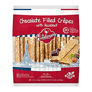 La Boulangere Chocolate Hazelnut Crepes Individually Wrapped Non GMO Free From Artificial Flavors & Colors 20-Count