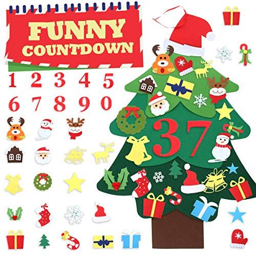 Jeteven Filz Weihnachtsbaum Kinder, DIY Weihnachten Set Countdown Weihnachts-Countdown-Kalender,39 stück DIY 120cm Weihnachten Fenstersticker für Kinder Weihnachten Geschenk Home/Wand/Schaufenster