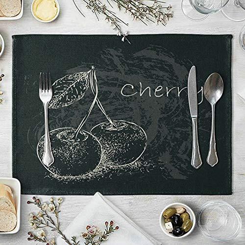 Amody Sets de Table Coton Lin Lavable, Tapis Table Cuisine 40x30cm Cerise Sets de Table Durable Antidérapant Résistant à La Chaleur pour Cuisine Blanc Noir
