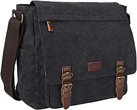 S-ZONE Vintage Canvas Messenger Bag School Shoulder Bag 14 Inch Laptop Briefcase