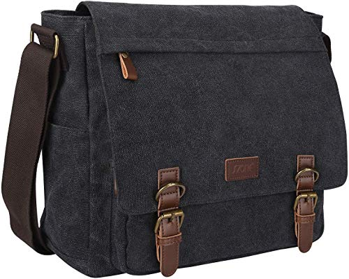 S-ZONE Vintage Canvas Messenger Bag School Shoulder Bag 14 Inch Laptop Briefcase