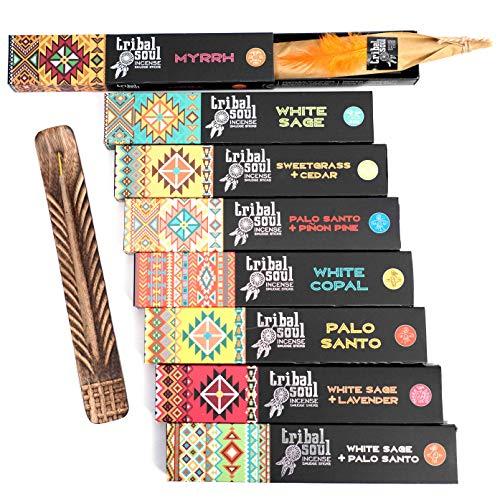 Tribal Soul Varillas de incienso – Set de regalo surtido incluye 8 fragancias (15 g cada una), quemador de incienso de madera de mango exótico tallado a mano incluido