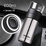 Mdsfe Botella de Agua con Aislamiento 600ML Exfoliante Beber Taza de té Botella de vacío Termo de vacío Botella de Bebida Taza de Viaje de Acero Inoxidable - 2, Oro