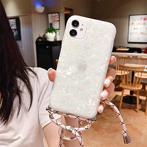 Jacyren Funda para iPhone 12 Pro Max, funda para iPhone 12 Pro, funda de mármol, cadena para teléfono móvil iPhone 12 Mini, funda de silicona Lanyard para teléfono móvil (iPhone 12 Pro Max, GS11)