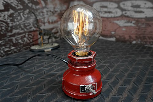 Y-Nut Loft Style Lamp,Corporal Red Steampunk Industrial Vintage Style, Water Pipe Table Desk Light with Dimmer, Aged Rustic Metal (Red)