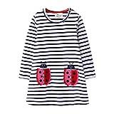 Hongshilian Toddler Girls Longsleeve Dress Cotton Jersey Casual Dresses Cartoon Applique(3T,Ladybug & Stripe)