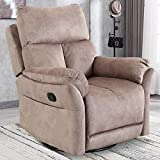 Swivel Rocker Recliner Chair, Manual Reclining Chair, Home Theater Chair for Living Room, Single Glider Sofa Chair, Camel