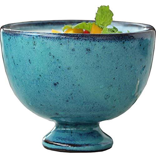 Nuokix Cuenco de cerámica Cuenco de cerámica tazón Viejo Retro abigarrado Taza de la Bebida de Yogur Helado de Postre Ensalada Bandeja Vajilla 10x8cm vajilla vajilla
