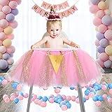 1st Birthday Tutu Skirt for High Chair Decoration Tulle Chair Skirt...