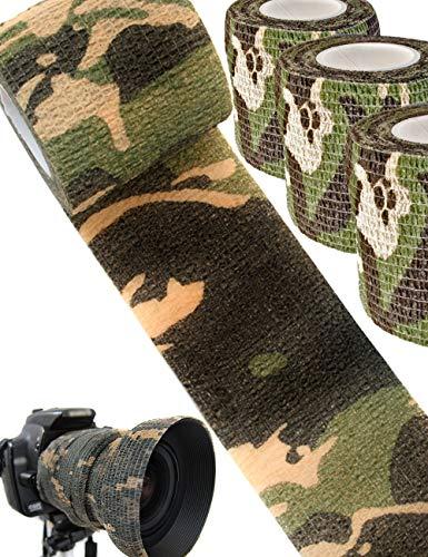 Outdoor Saxx® - Camouflage Tarn-Tape Tarnfleck, Gewebe-Band, Tarnung wasserfest mehrfach verwendbar, Kamera, Ausrüstung, Jäger, Angler, Fotografen, 4.5m, 3er Set