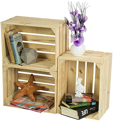 LAUBLUST 3er Set Große Vintage Holzkisten - 40x30x25cm, Natur, Neu, Unbenutzt   Möbel-Kiste   Wein-Kiste   Obst-Kiste   Apfel-Kiste   Deko-Kiste aus Holz