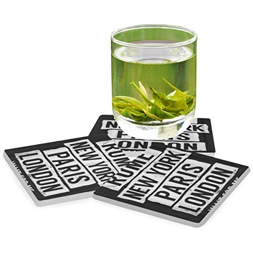 PANILUR Cooles Rom New York Paris London Slogan für Grafiken,Untersetzer Saugfähige Keramik,für Tassen Tisch Bar Glas(4 Packs)