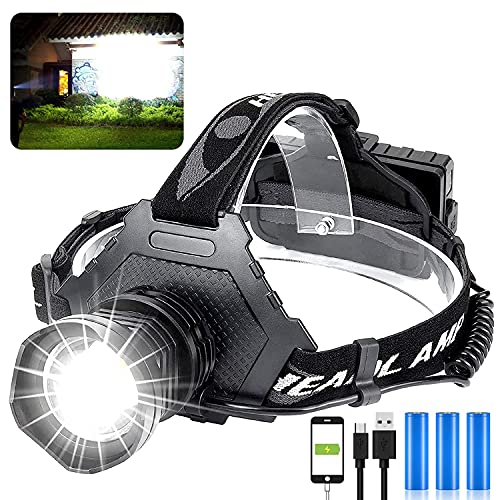 LED Rechargeable Headlamp 60000 High Lumen, XPH70 Brightest LED Work Headlight Zoomable, Waterproof, 5 Modes Lightweight Head Lamp for Adult Camping, Hard Hat, Hunting, with USB Output as Power Bank