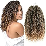 YMHPRIDE 6 Packs Curly Faux Locs Crochet Hair with Curly Ends 14 Inch Ombre Goddess Locs Crochet Braids Prelooped Bohemian Locs Synthetic Braids T1B/27#