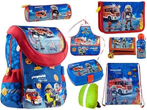 9-delig. Playmobil Fire Set brandweer-schooltassen, schooltas, etui, sporttas, pennenzak, schort, portemonnee, regenbescherming, broodtrommel, drinkfles nieuw
