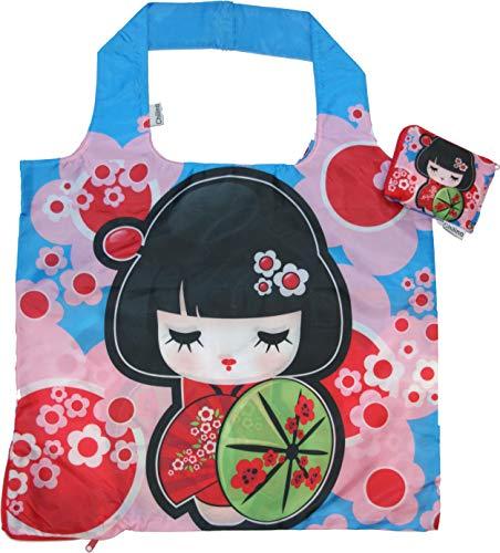 Chilino Manga Faltbare Einkaufstasche, groß und stabil, umweltfreundlich, 100% Polyester, blau, rosa, 47 x 41 cm
