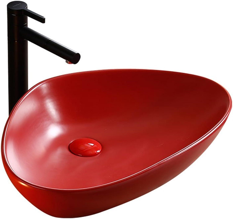 Nordic Full Red Triangle Ceramic Above Counter Basin Bathroom Wash Basin Art Basin Bathroom sinks