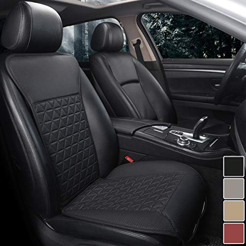 Black Panther 1 Piece Luxury PU Leather Front Car Seat Cover Protector Compatible with 95% Cars (Sedan/SUV/Pickup/Van), Triangle Quilted Design - Black