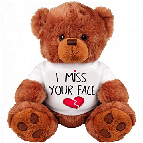 I Miss You Gifts Large 13 inch Teddy Bear I Miss Your Face- Cute Unique Long Distance Relationships Gift, Friend, Couples, Relationship, Boyfriend, Girlfriend, I'm Sorry, for Her, Him