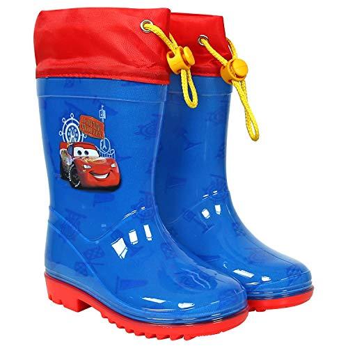 PERLETTI Botas de Agua Disney Pixar Cars - Botines Impermeables Lluvia Rayo Mcqueen Niño - Suela Antideslizante y Cierre con Cordón - Azul y Rojo - PVC (Azul, 24/25 EU)