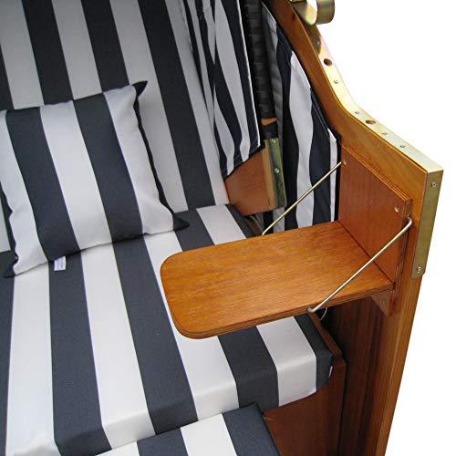 Zweisitzer Strandkorb mit klappbarer Rückenlehne für 2 Personen 118 x 80 x 160 cm (Blau / Weiss) - 4