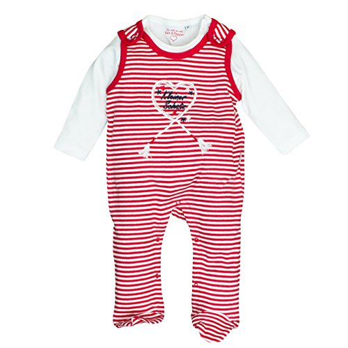 Salt & Pepper Baby-Mädchen NB Playsuit Schatz Stripe Strampler, Rot (Lipstick Red 335), 68