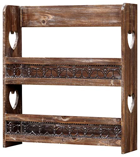 amadeco Gewürzregal Tassenregal Küchenregal mit viel Herz - Regal für Gewürze oder Tassen - Landhaus Shabby Chic Vintage Stil - Braun