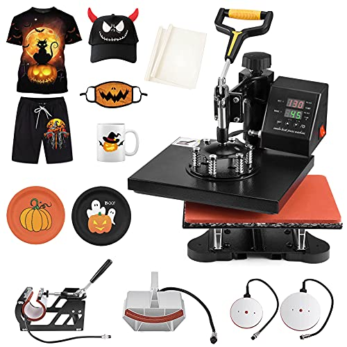 Slendor Pro 5 in 1 Heat Press Machine 12x10 inch 360-Degree Swing Away Digital Heat Transfer Sublimation Multifunction Printing Combo for T Shirts Mugs Hat Plate Cap