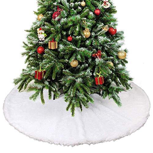 THE TWIDDLERS 90cm Gonna per Albero di Natale in Peluche Bianca, Copri Base Albero Natale, Pelliccia Tappeto per Albero, Copri Piede Albero Natale.