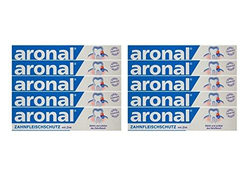 10x aronal Zahnpasta 75ml Zahnfleischschutz mit Zink PZN: 9431782 elmex Forschung