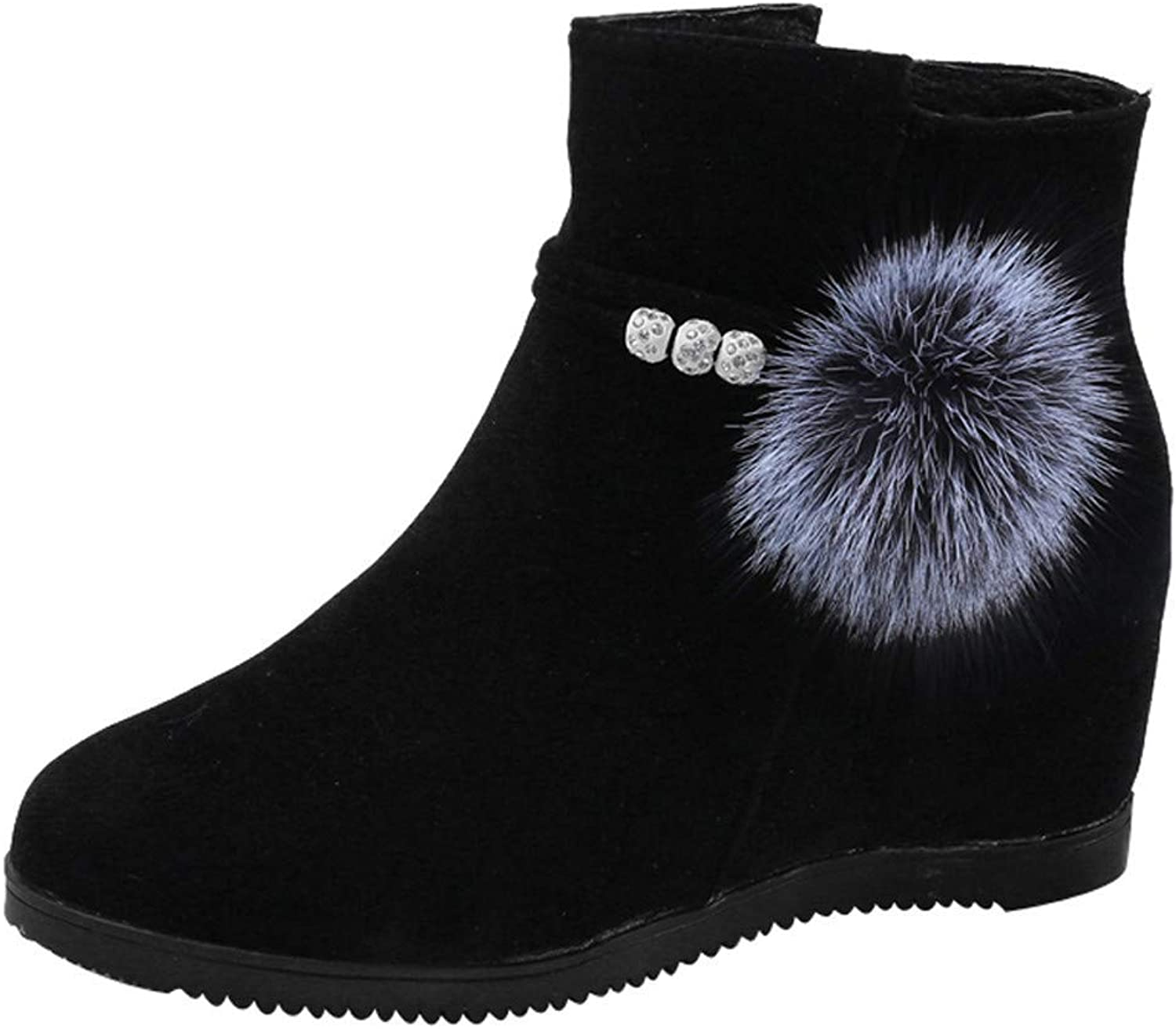 JaHGDU Women Suede Hairball Round Toe Wedges shoes Pure color Zipper Martin Boots Fashion Leisure Elegant Cosy Wild Tight Super Quality for Womens