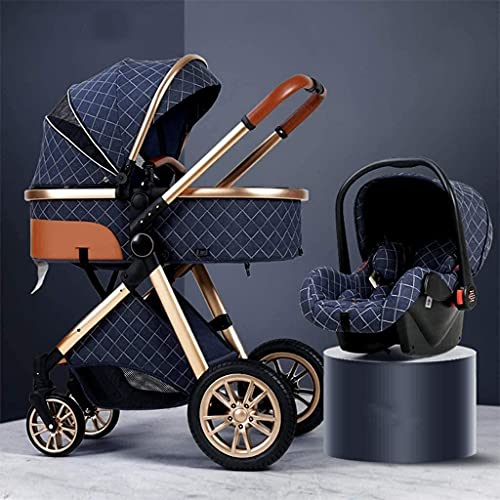 JUNC Foldable Baby Buggy 3 in 1 Baby Stroller Carriage Lightweight Pushchair Stroller Shock Absorption Springs High View Pram Baby Stroller with Stroller Rain Cover, Footmuff (Color : Blue)