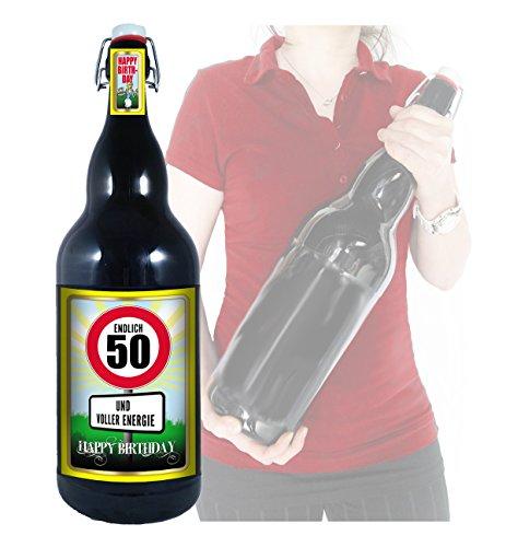 Endlich 50 - Herzlichen Glückwunsch - 3 Liter XXL-Flasche Bier mit Bügelverschluss
