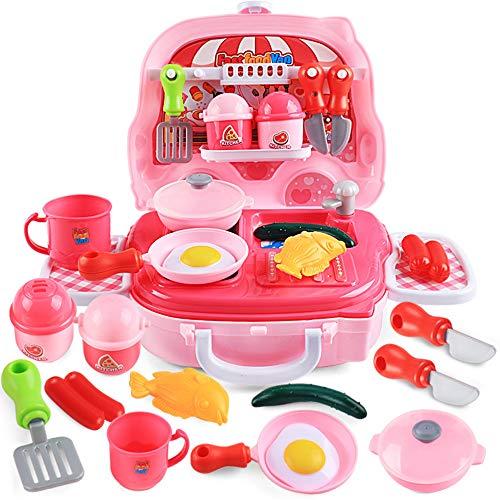 SSRSHDZW Vortäuschen Spiel Kinderspielzeug Küche Kochgeschirr Burger Koffer Trolley Set Geschnitten Lebensmittel Spielzeug Küchenutensilien 3-6 Jahre Altes Spielhaus Spielzeug