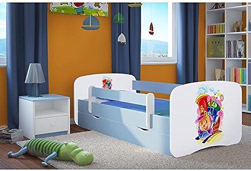 CARELLIA 'Kinderbett ciuchcia 70 140cm   mit Barriere Sicherheitsschuhe + Lattenrost + Schubladen + Matratze Ofürt. Blau