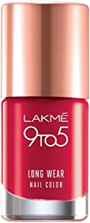 Lakmé 9 to 5 Long Wear Nail Color, Red Risk, 9ml