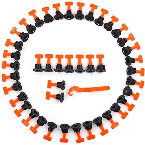 50 StückT-förmiger Fliesen Nivelliersystem Kit, Flacher Keramikboden Wandkonstruktionswerkzeuge Wiederverwendbares Fliesenausgleichssystem Kit