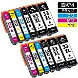 Jagute 33XL Cartucce Sostituzione per Epson 33 XL 33XL T3351 Cartucce d'inchiostro Compatibile con Epson Expression Premium XP-530 XP- 540 XP-635 XP-640 XP-645 XP-830 XP-900 XP-7100 (12-Pack)