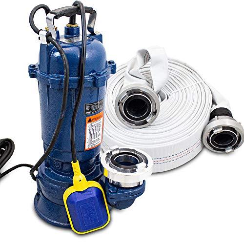 BITUXX® Fäkalienpumpe mit Schneidwerk Tauchpumpe Schmutzwasserpumpe 2 Zoll auch für Brunnen Zisterne Bewässern Garten Pool bis 22800 Liter/h inklusive 30 Meter 2