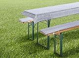 Set di cuscini per panche da birra, 3 pezzi, Vichy Karo, rosso, verde, blu, tovaglia e cuscino per panca da birra, cuscino da giardino, tipo 331 (per tavolo da 50/70 x 110 cm, grigio)