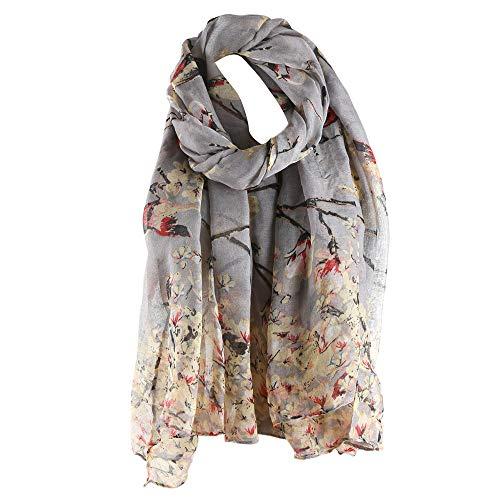 Clearance Silk Scarf for Women,WUAI Christmas Fashion Lotus Printed Long Scarf Warm Wrap Shawl(Grey,Free Size)