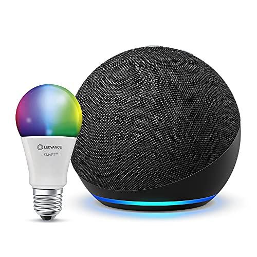 Echo Dot (4. Generation), Anthrazit + Ledvance Smarte Lampe (E27), Funktionert mit Alexa
