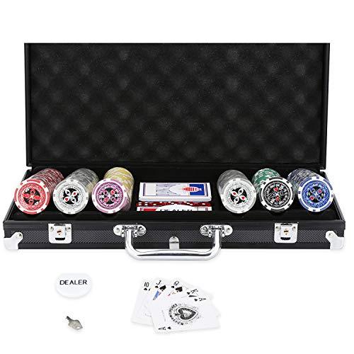 Hengda Pokerkoffer 300 Chips Poker Chips Laser Poker 11.5 Gramm, 2 Karten, Händler, 5 Würfel, mit Aluminium-Gehäuse Schwarz Koffer